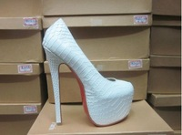 2013 Newly Serpentine Platform  White/grey / Pink   High heel Shoes  red bottom free shipping