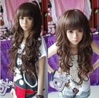 3 Color women's /Lady fashion wig Long curly wigs cosplay wigs synthetic hair wigs cap free shipping(China (Mainland))