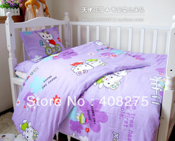 3 pcs Hello Kitty Baby bedding sets toddler children bedding duvet cover+sheet+pillow case 100% cotton many colors Free Shipping(China (Mainland))