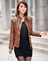 Freeshipping!2013 new style fashion women leather jacket ,women Slim-fitting large size leather jacket coat M-XXXL