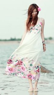 Free shopping 1257 bohemia romantic camellia vacation of spaghetti strap full dress D619-1(China (Mainland))