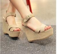 Vintage strap wedges genuine leather open toe sandals size platform high-heels shoes US size 3  30 31 32 33 41 42 43