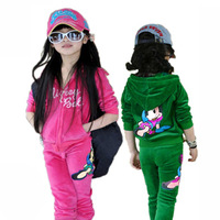Free Shipping 2013 spring and autumn new arriving children clothes,girls princess sports suit with cute pattern,leisure clothing
