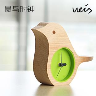 Weis bird clock log clock ofhead clock beech wooden desk clock