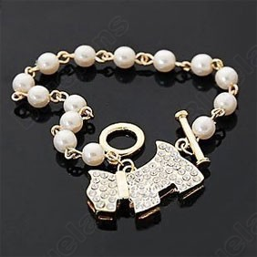 12pcs/lot Cute Retro Luxury Created Diamond Dog Peal Bracelet Elegant Bangle Fashion Women Jewelry Free Shipping Wholesale(China (Mainland))