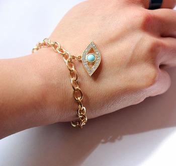 Free Shipping~~Gold Chain Evil Eye Charm Bracelet For Women 2013,JP040616