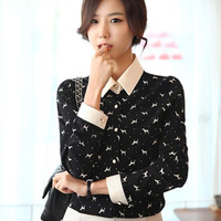 Women's Dog Printed Lapel OL Chiffon Long Sleeve Button Down Shirt Blouse Tops HR530 dropshipping free shipping