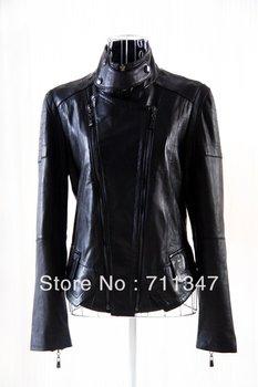 2013 genuine leather women's short design jacket black red pink biker jackets outerwear sheepskin free shipping dropship ex-1211