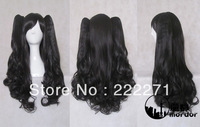FREE SHIPPING Anime Long Black Lolita Curly wavy Cosplay Wig Ponytail  Heat Resistant