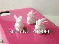 Free shipping! Diy mobile phone decoration/flat back resin/cute cartoon stereo bunny / 15 * 15 mm, 30 PCS/lot