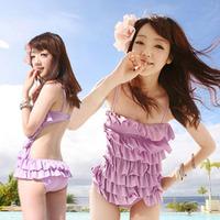 Free shipping 2014 hot spring swimsuit skirt style swimwear small steel push up women's one piece swimwear