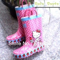 free shipping! New Child 2013 rubber baby girl boot for rain print hello kitty shoes retail wholesale