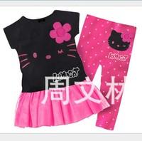 Hot Sale! 2013 new hello kitty clothing sets girls fashion flowers girl's long tshirt +pink pants princess dress