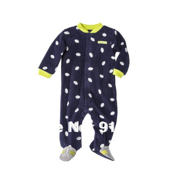 2014 New Original HOT, baby boys microfleece Romper,carter  Baby Long Sleeve football Jumpsuit, bay boys play and sleep wear