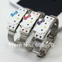 Free shipping,Cat wrist length belt 8g usb bracelet flash drive crystal lovers gift antivirus encryption