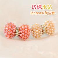 Bow for iphone 4 cartoon dustproof plug for apple pearl mobile phone dust plug earphones tampion