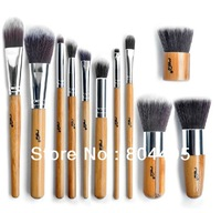 Hot selling !  Professional Bamboo handle makeup brush set, cosmetic face makeup brush, powder brush with synthetic hair