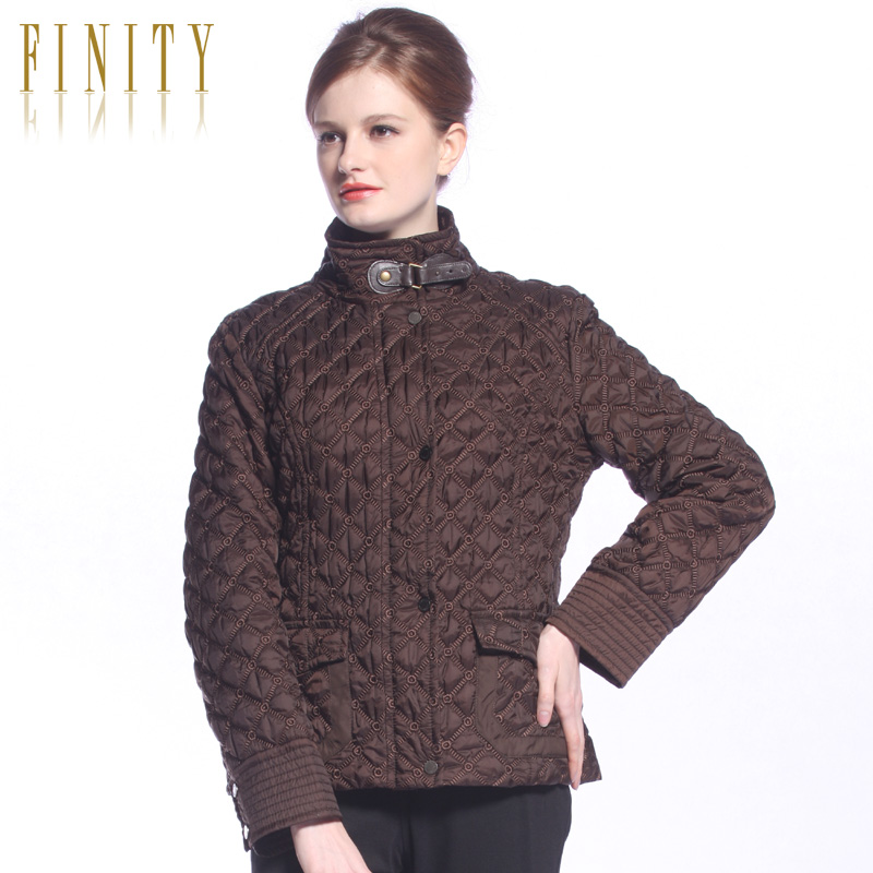 Finity women's autumn and winter new arrival plaid crimping slim thin wadded jacket(China (Mainland))