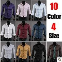 Free Shipping 2013 Mens Slim fit Unique neckline stylish Dress long Sleeve Shirts Mens dress shirts 5922