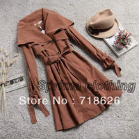 Women's Double Breasted Flouncing Neck Long Slim Windbreaker Trench Coat Free shipping S,M,L,XL,XXL7958