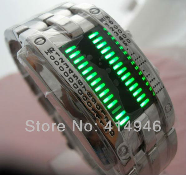 Wholesale Fashion Design Staineless steel Binary Digital Watch Quartz Knight LED Boys Men&#39;s Wristwatch Gift , w058(China (Mainland))