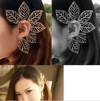 ES148  Fashion Western Hollow leaves ear cuff clip earring Hot New Jewelry Wholesales Free shipping