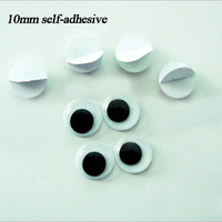 Free shipping wholesale 10mm self-adhesive Black and Whitel round Movable Eye Plastic For Doll Toy diy(5000pcs/lot)