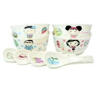 High quality cartoon bone china tableware rice bowl dinnerware set