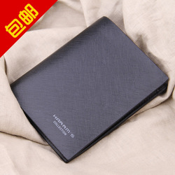 2012 harrms vertical wallet male wallet short design men&#39;s wallet male cowhide card holder black(China (Mainland))