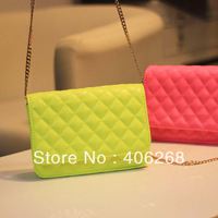 free shipping  2013  fashion neon color solid plaid small bag  bright pu leather ladies' shoulder bag sling bag evening bag