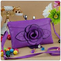 2014 New Designer Flower Zipper Bags for Ladies' PU Leather Handbags with Strap Fashion Shoulder Bag Purse