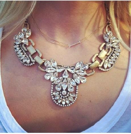 free shipping 2013 new design Fashion vintage crystal necklace fashion jewlery