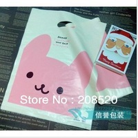 AD120 free shipping wholesale(50pcs/lot) 19*26cm smile cartoon pink rabbit cute plastic gift bags for boutique
