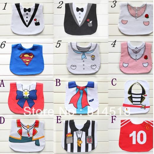 30pcs/lot Gentle Style 3 layers waterproof baby feeding bib apron designer infant overall pinny(China (Mainland))