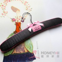 Honey clothing support women's Pink bow bandage black and white polka dot fabric hangers