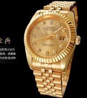 2013 fashion gold, 18 k gold automatic mechanical watch gold steel belt studded wrist watch