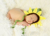 Free shipping sunflower style baby hat handmade crochet photography props newborn baby cap