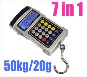 1pcs multifuntion portable electronic digital fishing hook scale 7 in 1 cool tool equipment free shipping