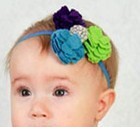 Blue and green Color Flower Headband Baby Girls Elastic Hairband Hair Accessories Baby toddler boy hairband Unisex headwear