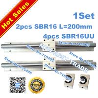 Free Shipping 2pcs SBR16 200mm Linear Bearing Rails + 4pcs SBR16UU linear slider Whole sale