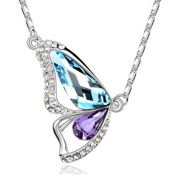 Wholesale gold plated austrian crystal rhinestone butterfly necklace pendant fashion jewelry make with swarovski element 1087(China (Mainland))