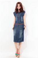 new fashion 2013 women's summer  slim elegant female fashion plus size tencel denim knee-length full dress one-piece dress