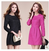 2012 autumn and winter one-piece dress small elegant jacquard relievo decorative pattern involucres stereo one-piece dress slim