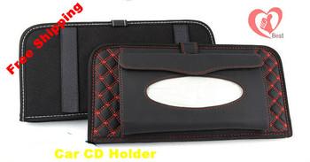 Free shipping free shipping Car CD DVD Disk Card Visor Case Holder Clip Box Bag Clipper Colorful car tissue boxes