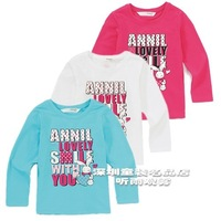 ANNIL girls clothing T-shirt o-neck long-sleeve knitted basic shirt ag211071 spring