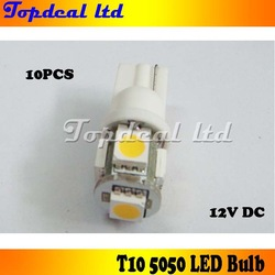 free shipping wholesale 10pcs car LED Lamp T10 W5W 194 5050 SMD 5 LED White/warm white Light Bulbs(China (Mainland))