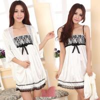 Increase your charm! Twinset ice silk sleepwear lace dress satin sleep shirts sexy nightgowns pajamas for women free shipping