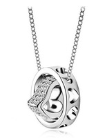 Wholesale 18K White Gold Plated Heart/Round Crystal Necklace Make With AU Crystal Necklace Fashion Jewelry MG686