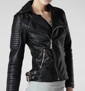 2013  Fashion new  design New Womens Punk Spike Studded Shoulder Leather Jacket Coat Motorcycle Jacket