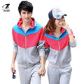2013 autumn casual lovers color block decoration with a hood sweatshirt sports set
